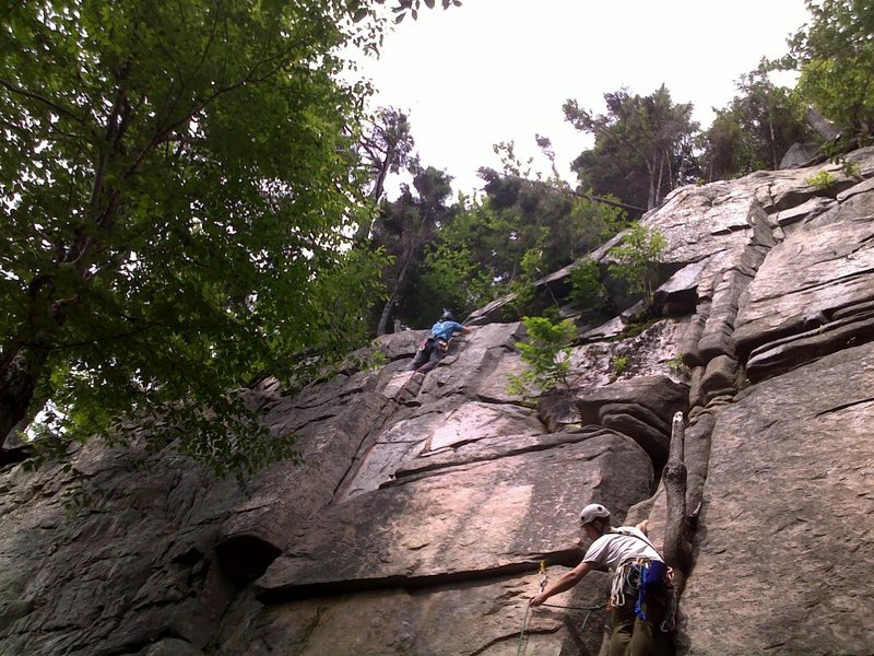 """First Trad Lead """"Maiming of the Shrew"""" Echo Crag, Franconia Notch, NH on July 12"""