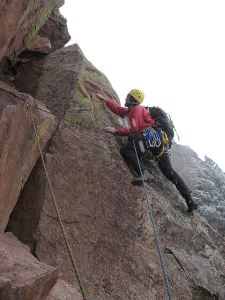 Rock Climbing Photo: Avoiding the crux on a snowy day.  Nov. 14, 2009. ...