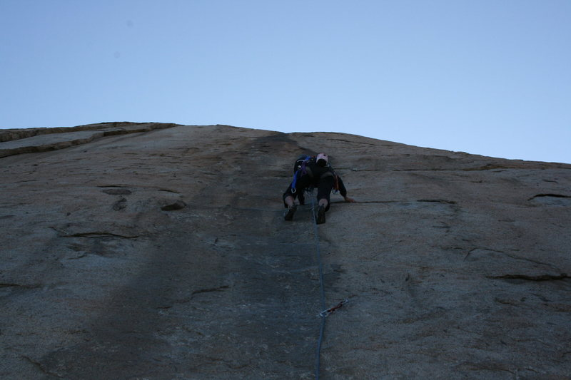 Rock Climbing Photo: Agina leading the Trough, just passing bolt #2. 11...