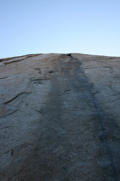 Agina leading the Trough, almost at the belay. 11-15-09