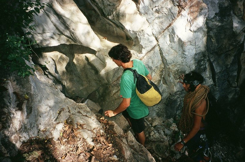 "Stan and ""Little Spoon"" find the entrance to the Secret Cave.  Photo by Tony B. 10/09"