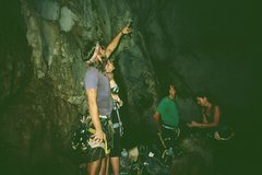 Rock Climbing Photo: A group of Climbers inside the Secret Cave scope t...