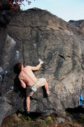 Rock Climbing Photo: Micah gaining the right hand pinch.
