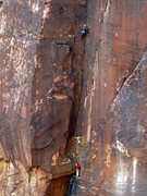 Rock Climbing Photo: Colorado climbers Rich and Kevin (belaying) on the...