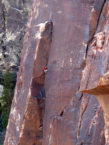 Rock Climbing Photo: Colorado climbers Kevin and Rich (belaying) on the...