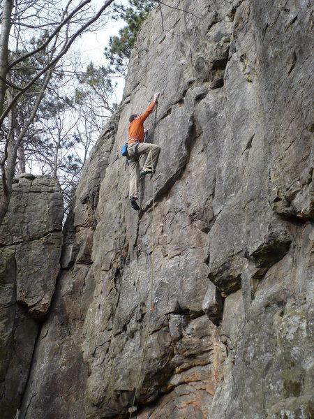 Paul C. climbing<br> <br> photo by: John Knoernschild