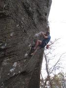 "Rock Climbing Photo: Gaining the arete.  The ""direct"" start, ..."