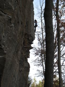 Rock Climbing Photo: Moving back onto the arete.