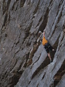 Rock Climbing Photo: Another big move, this one leading to the big horn...