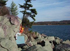 Rock Climbing Photo: Amazing November day.  Best warmup at the Lake.  P...