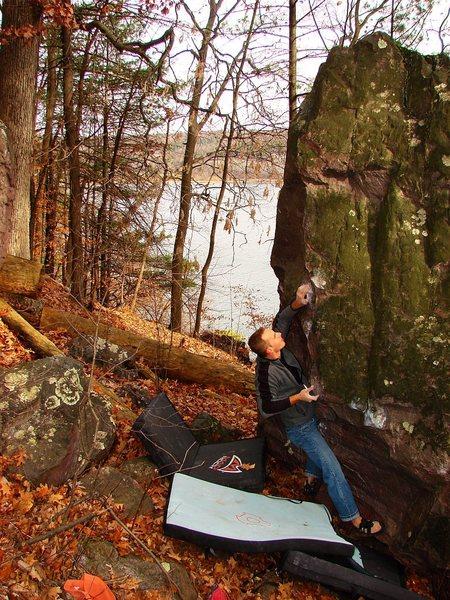 Rock Climbing Photo: Matt Satermo working out this fun problem.  Novemb...