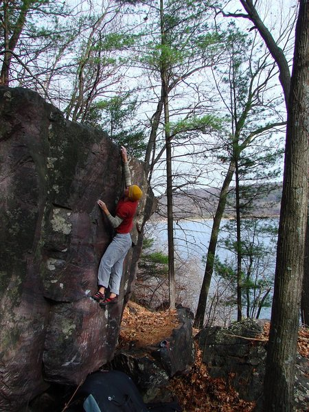 Another shot near the top of this problem.  November 09, photo Matt Satermo.