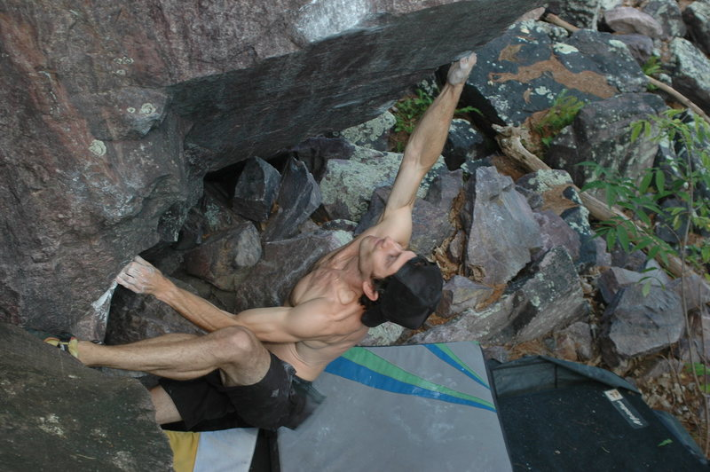 Rock Climbing Photo: Remo sticking the crux back in the summer heat.