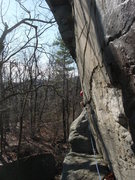 Rock Climbing Photo: Looking back along the traverse section that leads...