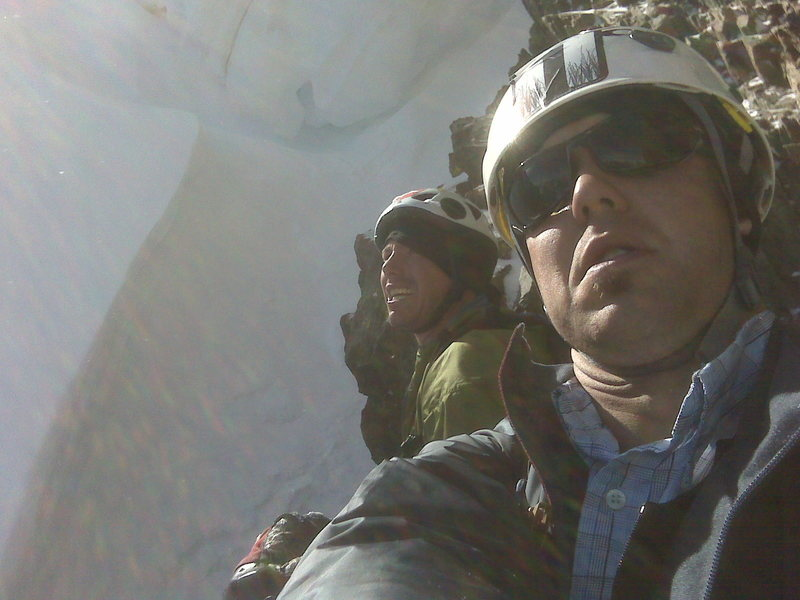 Rock Climbing Photo: Steve and I on Ice Mountain under a large cornice ...