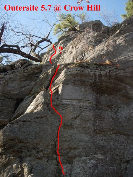 "The first pitch follows the thin crack on the arete (between The Chimney and Blue Route).  The second pitch ""goes up and right on a steep wall""."