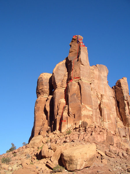 Rock Climbing Photo: The Warrior tower in the afternoon with the route ...