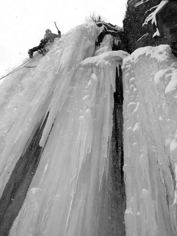 The top of the first real pitch of steep ice.
