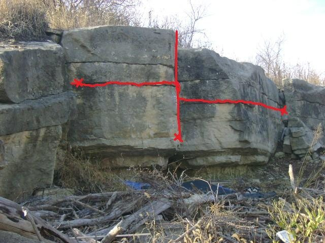 """Topo of """"main"""" area. Blimey! is the traverse (v3ish) and """"Paris's Arrow"""" is short vertical route on arete (v4- ish)"""