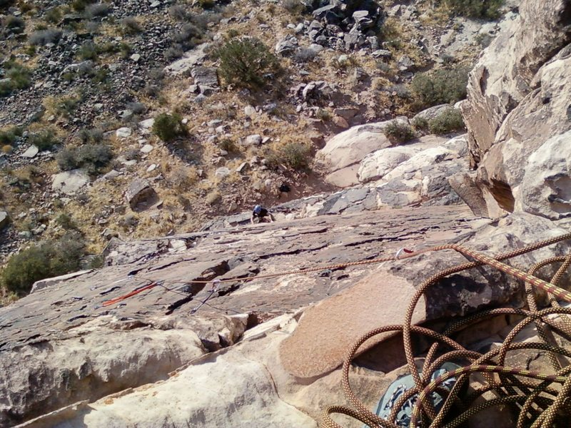 Looking down on Pitch 2 from the belay station.