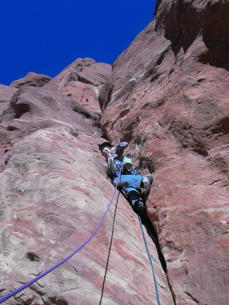 Rock Climbing Photo: Jake on the first pitch of Putterman goes to Washi...