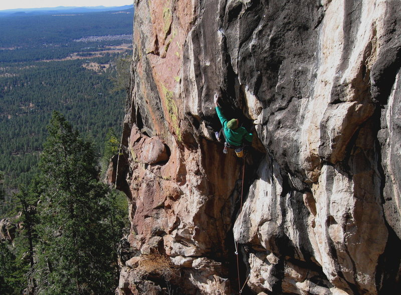Rock Climbing Photo: Colin mid crux, on Solitaire, Mt. Elden, AZ