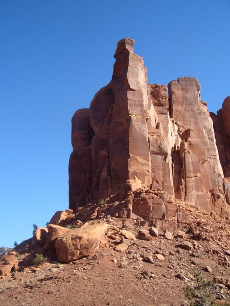 Rock Climbing Photo: The Warrior Tower before the sun has hit the face.