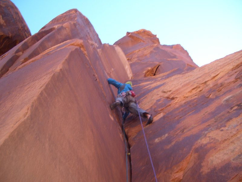 Rock Climbing Photo: On the first pitch of the Warrior.