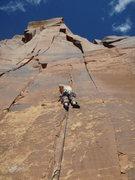 Rock Climbing Photo: Ginger danicing on Dee is Dancing, Indian Creek