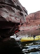 Rock Climbing Photo: Starting from a kayak. Knowles canyon.