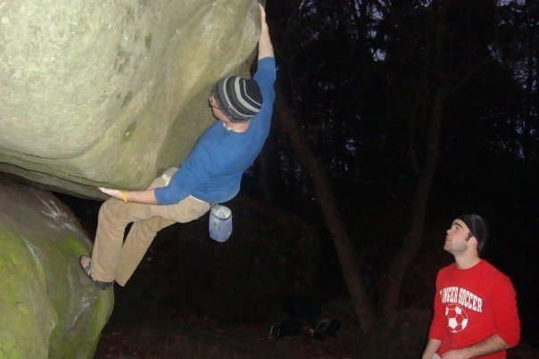 just before the crux move...