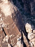 Rock Climbing Photo: Unknown climber on the awesome sixth pitch of the ...