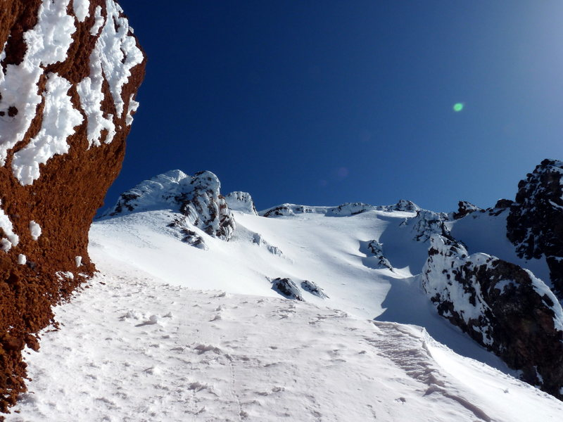 Rock Climbing Photo: The last part of the ridge. Follow this part of th...