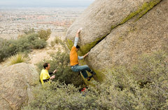 Rock Climbing Photo: The big opening move up to the sloping lip, photo ...