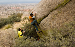 Rock Climbing Photo: Gripping some grit to get the feet situated, photo...