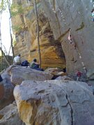 Rock Climbing Photo: Hitting the edge at the end of the technical start...
