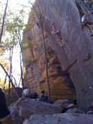 Rock Climbing Photo: Moving into the good resting hold at the last clip...