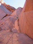Rock Climbing Photo: Carter taking off on the second pitch