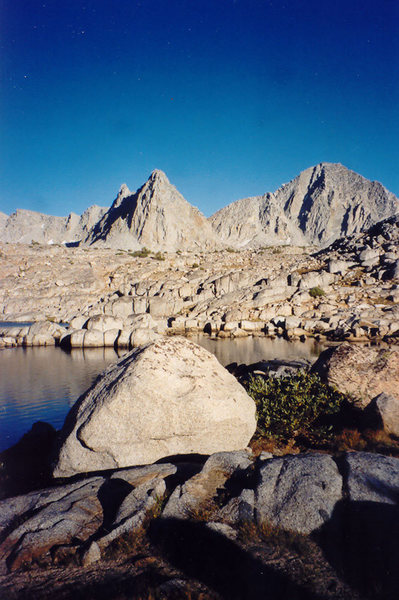 Boulder, Isoceles, and Columbine from lake in Dusy Basin.