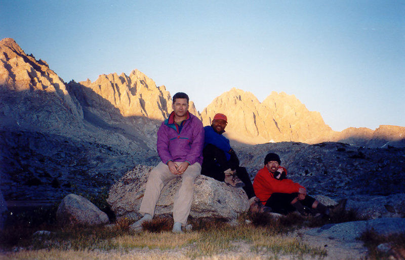 Chris, Tony, and Scott camped in Dusy Basin, with the Palisades beyond.