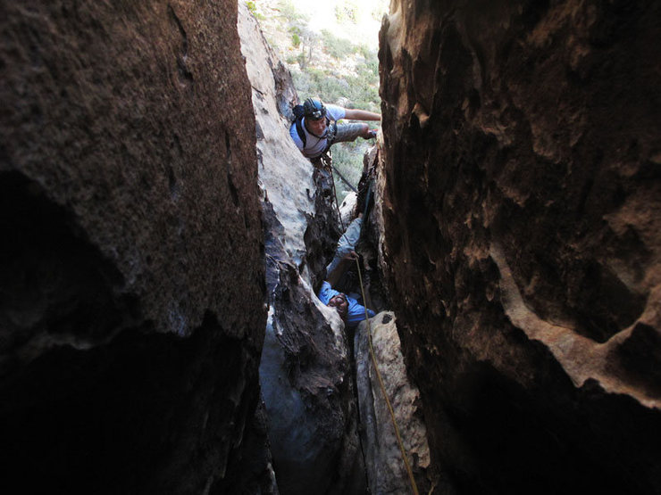 Rock Climbing Photo: Looking down out of the 3rd pitch chimney(first pa...