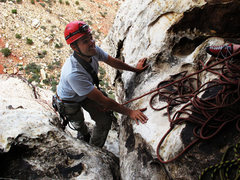 Rock Climbing Photo: Top of the 3rd pitch at the belay.