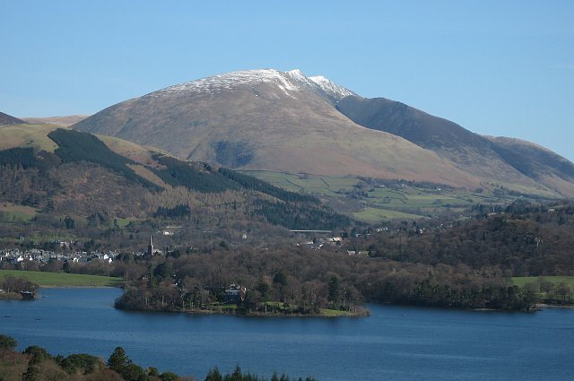 This is part of the county of  Cumbria,in northern England, and the town of Keswick ,where we hail from.the mountain Blancathra in the background.