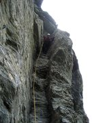 Rock Climbing Photo: Nearing the top of the chimney...from here, one qu...