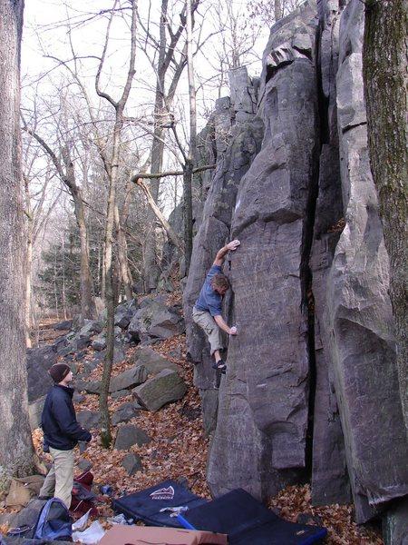 Rock Climbing Photo: NU climber Vince working Jameson.