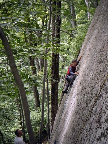 Rushing to make one more FA as the 2009 Rockclimbers' Festival begins. I even forgot my helmet!