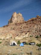 Rock Climbing Photo: Campsite below Devastator Tower. Weasel to the lef...