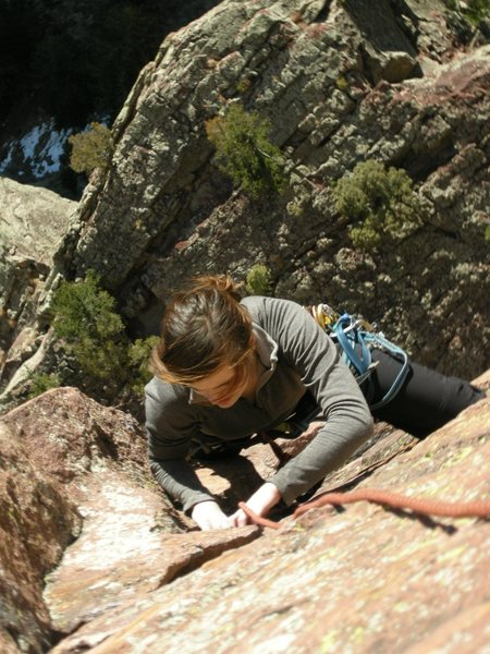 Rock Climbing Photo: Brooke right after p3 traverse.