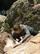 Rock Climbing Photo: Brooke right after p3 traverse.