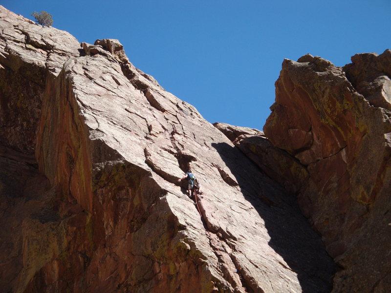 Rock Climbing Photo: West Crack 5.3 - Eldorado Canyon